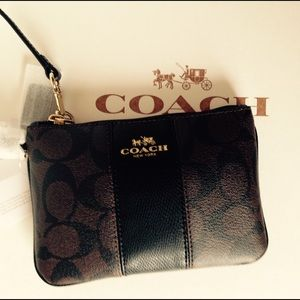 Coach Handbags - Coach Sig/brown/black leather Wristlet