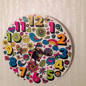 White and neon colored circular clock. for sale
