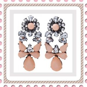 New Peach & Clear Crystal Statement Earrings