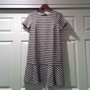 Loft Drop-Waist Striped Mini Shift Dress