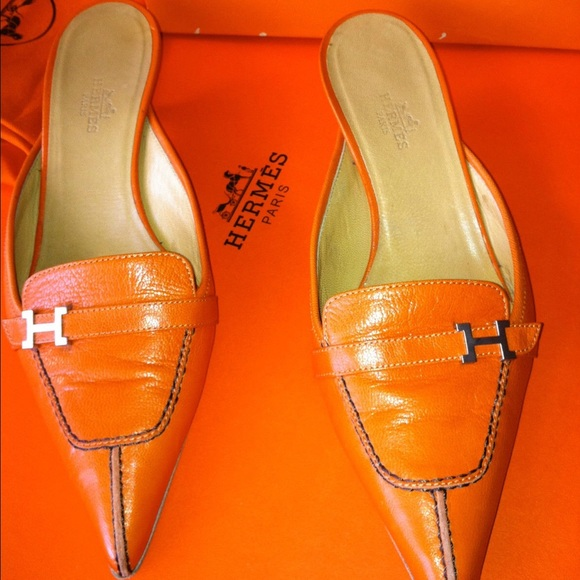 9% Off Hermes Shoes - AUTH VINTAGE HERMES ORANGE SLIDE U0026quot;H ...