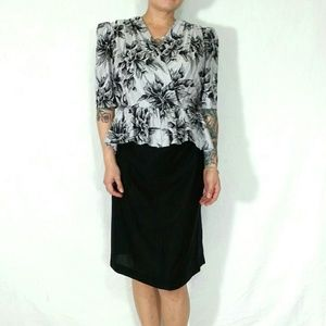 Vtg peplum dress floral black & grey medium