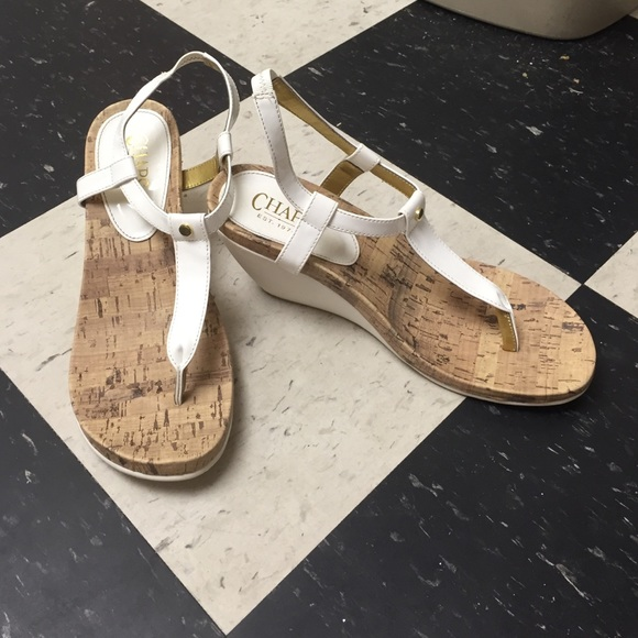 chaps white and cork high heel sandals from s