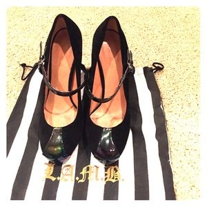 L.A.M.B suede and patent leather pumps