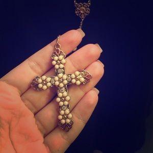 Pearl rosary with peach and rhinestone cross