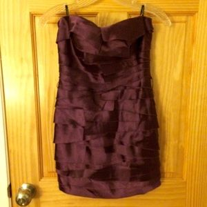 Bebe Strapless Tiered Purple Shiny Party Dress