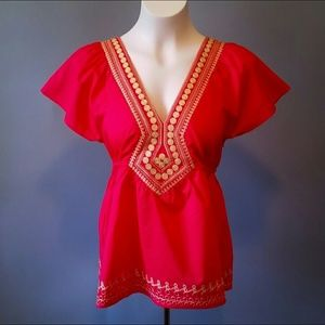 THE AURORA CO. red & gold empire blouse