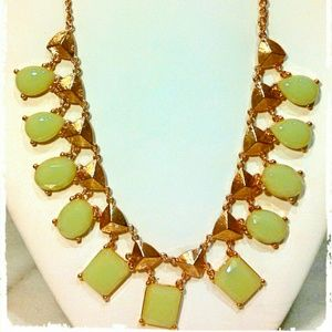 MINT GREEN GEOMETRIC STATEMENT NECKLACE & EARRINGS