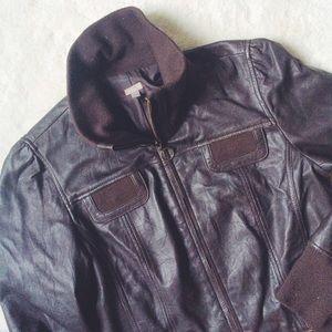 Halogen Jackets & Blazers - 🎉HP!🎉 Halogen | Brown leather moto jacket