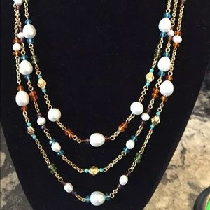 Triple strand faux crystal and faux pearl necklace