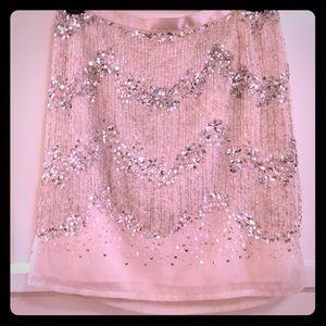 Light pink sequined mini skirt