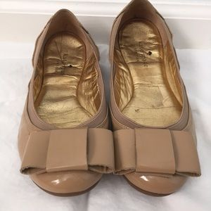 Kate Spade Felice Nude Patent Leather Bow Flat