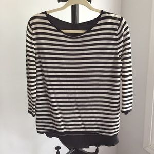 COS Black & White Stripped Blouse with Button Back