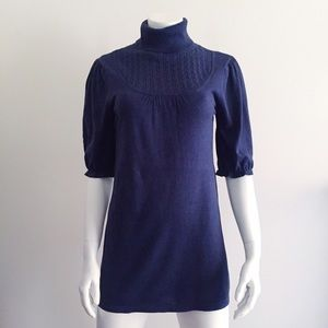 Dresses & Skirts - Navy Blue Turtleneck Dress with Puffy Sleeves