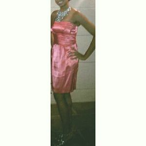 Strapless Coral Dress with Pockets