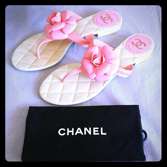 261e3d7a778b CHANEL Shoes - Authentic Pink Chanel Camellia flip flops