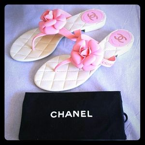 Authentic Pink Chanel flip flops
