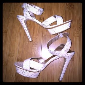 Colin Stuart Shoes - Colin Stuart faux snake white strappy heels.