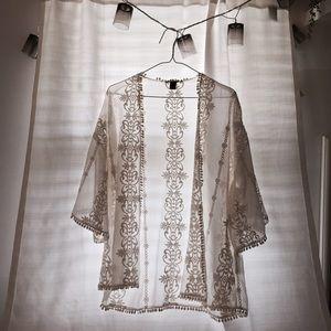 Tops - Cream Sheer Kimono
