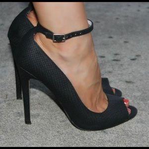 Shoemint Shoes - Shoemint Lindsey Black Snake Print Peep Toe Heels