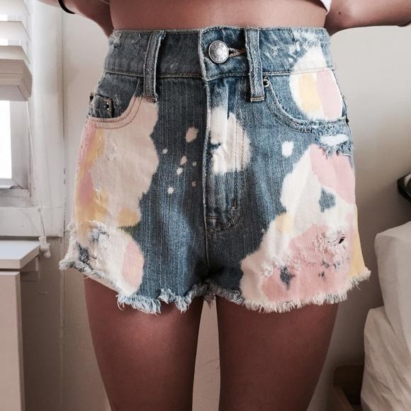BDG Shorts - Dip-dyed High Waisted Shorts