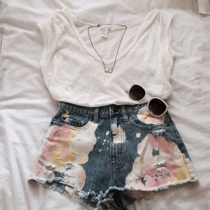 Dip-dyed High Waisted Shorts