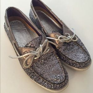 Sperry Top-Sider Shoes - Silver Glitter Sperry Boat Shoe