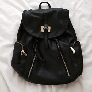 Merona Bags - Black faux leather drawstring backpack