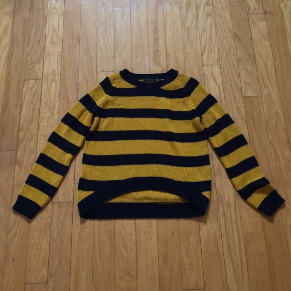 Timing Sweaters Navy Blue And Mustard Yellow Striped Sweater