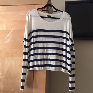Express stripped sweater / white and navy