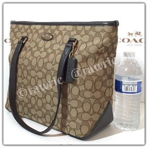 New Coach signature fabric leather tote