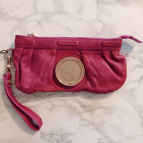 "Gustto Bags - Gustto ""Balma"" Strawberry Leather Wristlet"
