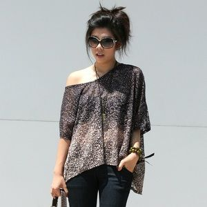 Tops - Slouchy One Shoulder Drop Dotted Top