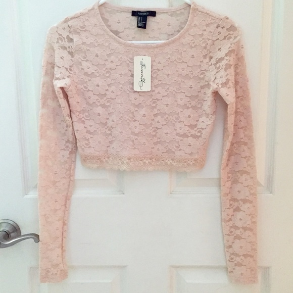 e65d9205da59c Pink lace long sleeve crop top