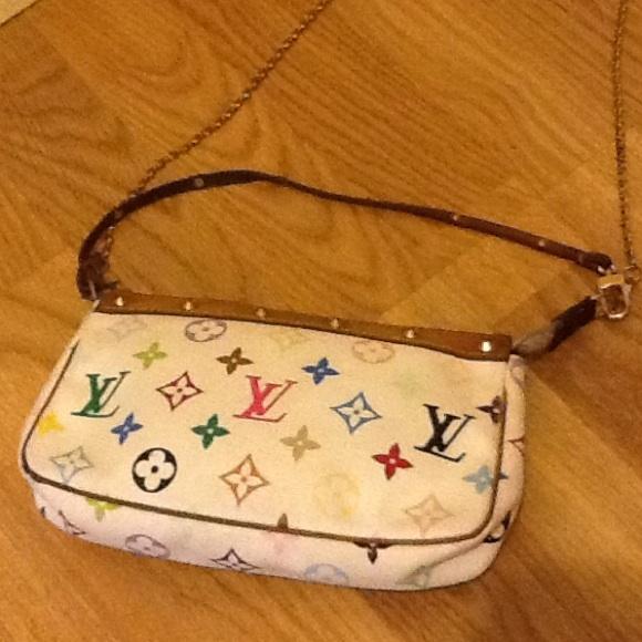 d9b2592a8853 Louis Vuitton Handbags - Louis Vuitton white multicolor pochette SL1013