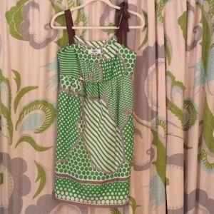 Tibi green polka dot print silk dress
