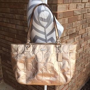 Large Signature Coach Gold Leather Purse Tote