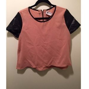 Tops - Blush/nude boutique top with faux leather sleeves
