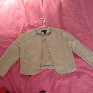 Rock-stud cream blazer