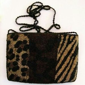 Beaded Clutch Animal Print Bag
