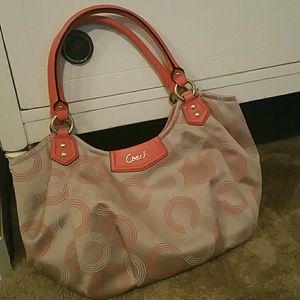Coral and Beige Coach Handbag