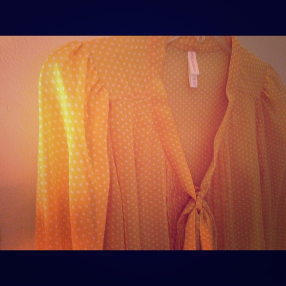 Yellow Blouse With White Polka Dots 65