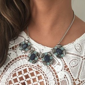 Navy and aquamarine necklace