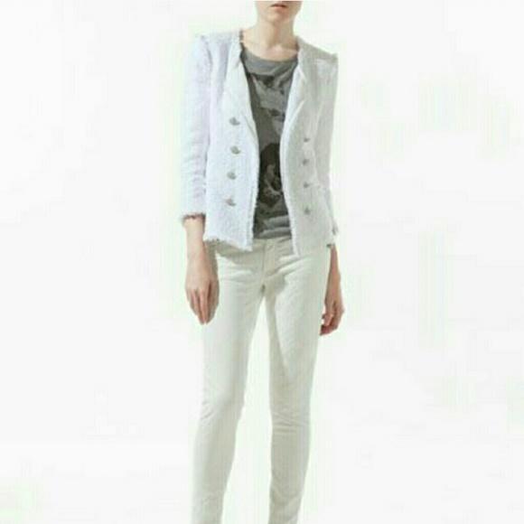 66% off Zara Jackets & Blazers - NWOT Zara White tweed Jacket XS ...