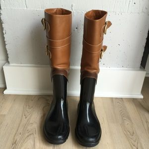 Brown And Black Rain Boots - Boot Hto