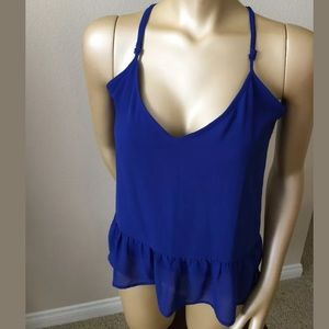 Rory beca forever 21 blue ruffle tank top Sz S