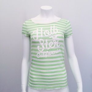 Hollister Tops - Hollister Green and White Striped T Shirt Logo