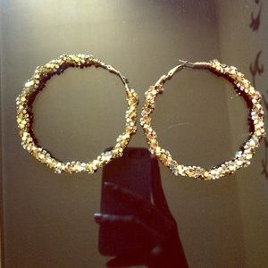 Gold hoops w/ diamonds