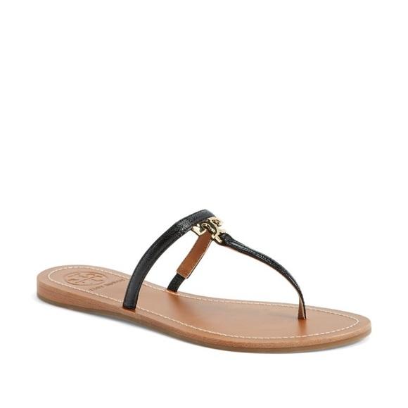 448fbcaeea59d0 Tory burch t logo leather thong sandal flip flop 9.  M 55845949397c625e9c004488