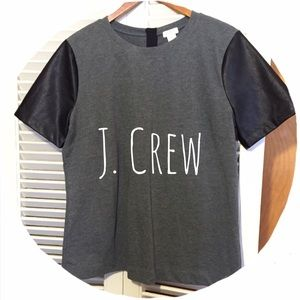 J. Crew Tops - NWOT! J.Crew Faux Leather Sleeve Tee